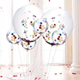 6 Pcs 36 Inches Confetti Balloons + 12 Pcs 12 Inches Clear Confetti Balloons with 50 g Multicolor Confetti for Wedding or Party Decorations