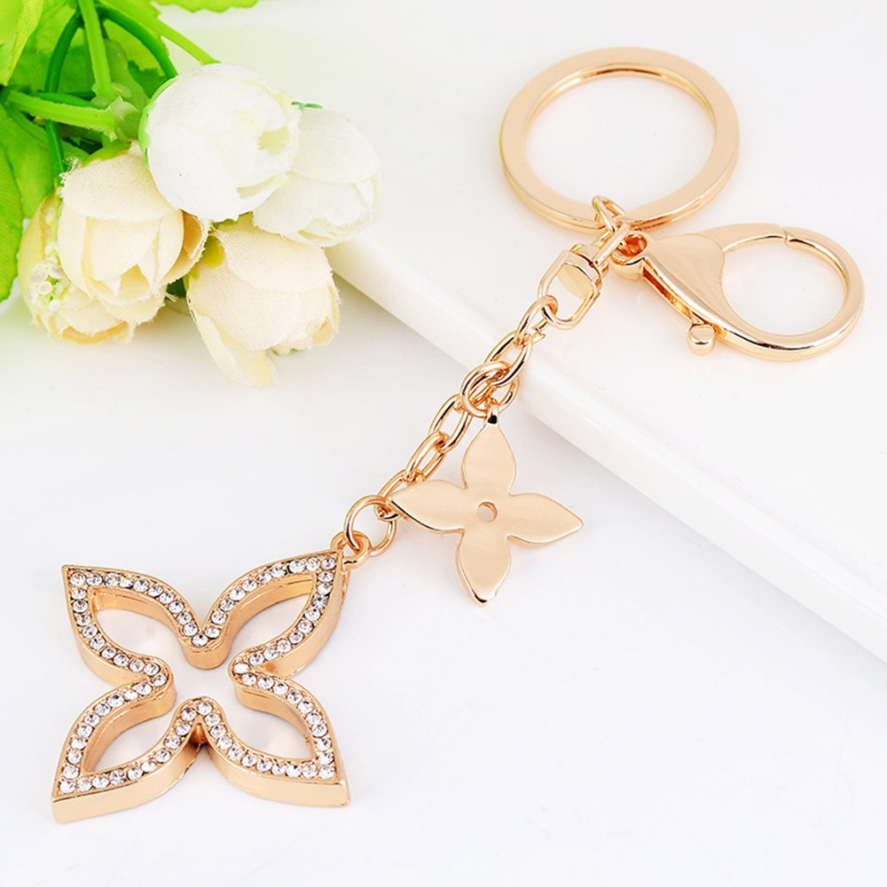 Jzcky Shzrp Creative Hollow Four Leaf Clover Crystal Rhinestone Keychain Key Chain Sparkling Key Ring Charm Purse Pendant Handbag Bag Decoration ...