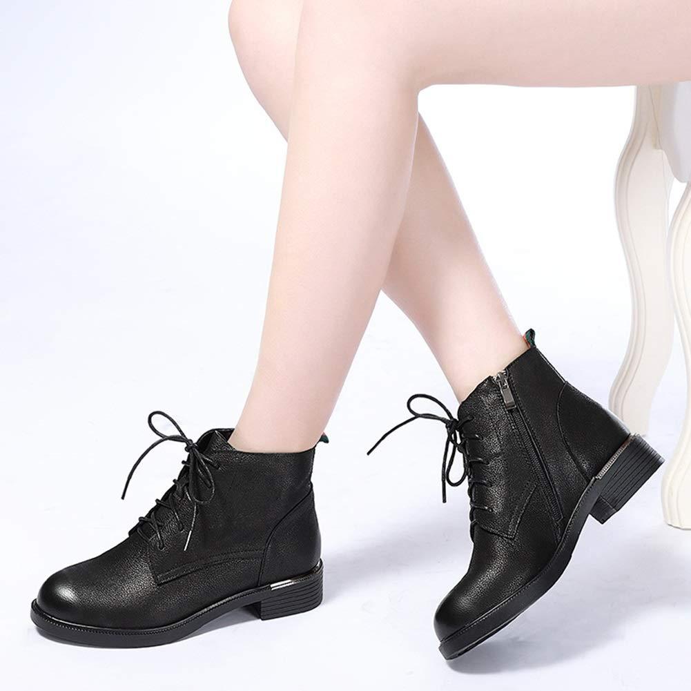 He-yanjing Lady Martin Stiefel, runde Lederstiefel Damenstiefel Flache High-Top Lace Größe Damenstiefel (Farbe   Schwarz, Größe Lace   35) 181559