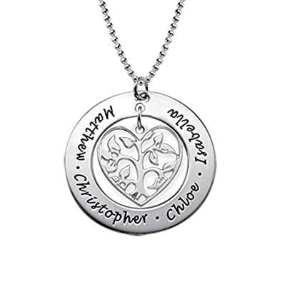 Heart Family Tree Necklace in 18ct Gold Plating - Custom Made with Any Name! i7H1BWV0
