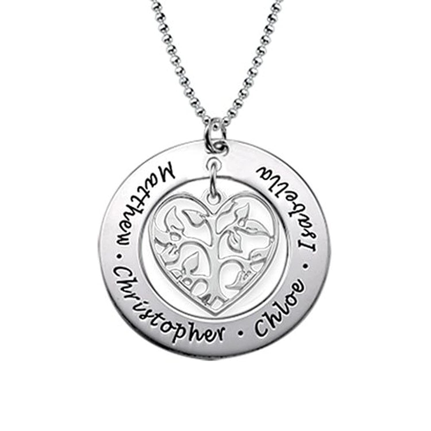 silver tree necklace family pendant name views engraved more sterling the