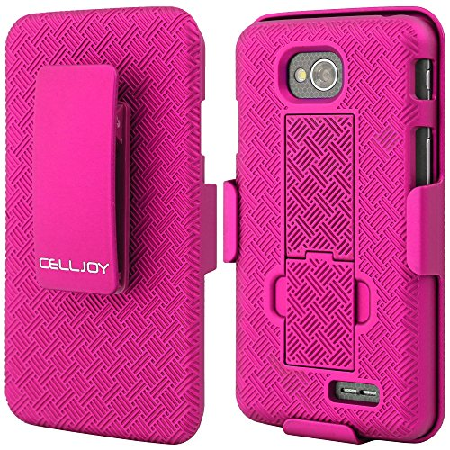 (LG L70 Case CellJoy® [X-Hatch Armor] Ultra Fit (PC) Hard Case Cover with ***Belt Clip Holster*** For LG Optimus L70 MS323 / Optimus Exceed 2 VS450PP Verizon / MetroPCS / Cricket [Retail Packaged] (X-Hatch Pink))