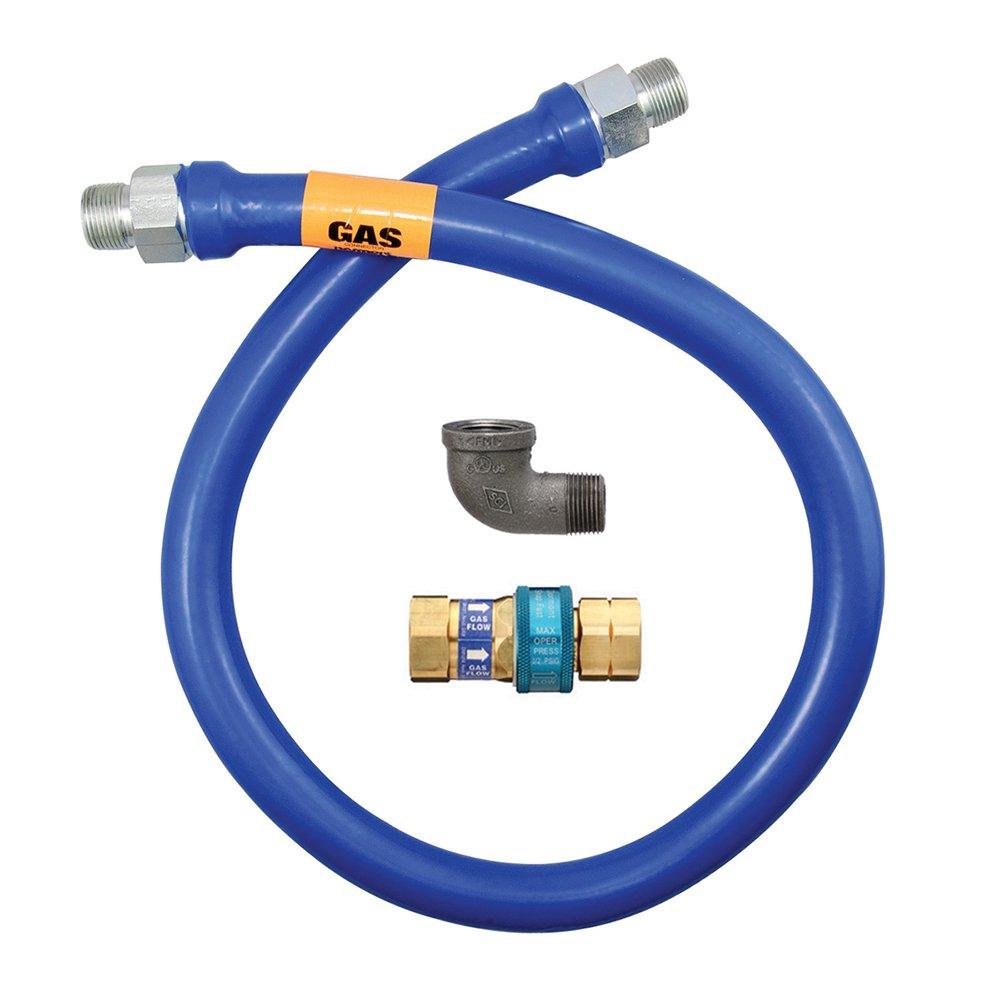Dormont 1650BPQ72 1/2'' Blue Hose Moveable Gas Connector Hose 72'' Long with Blue Antimicrobial PVC & 1 SnapFast QD