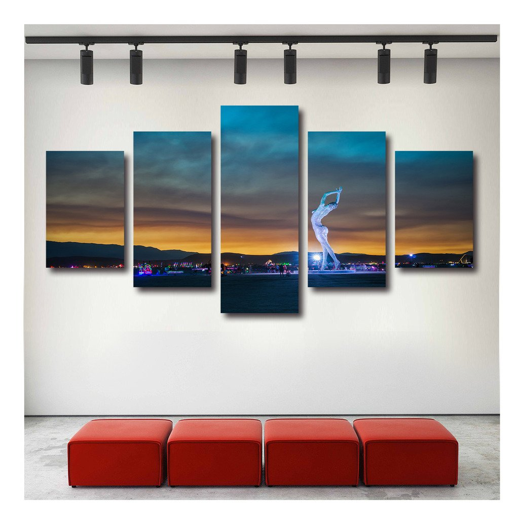 Artrend W5350 The Lady Dances Burning Man Cityview Stretched Canvas Printing Framed Large Set Gallery Wrap