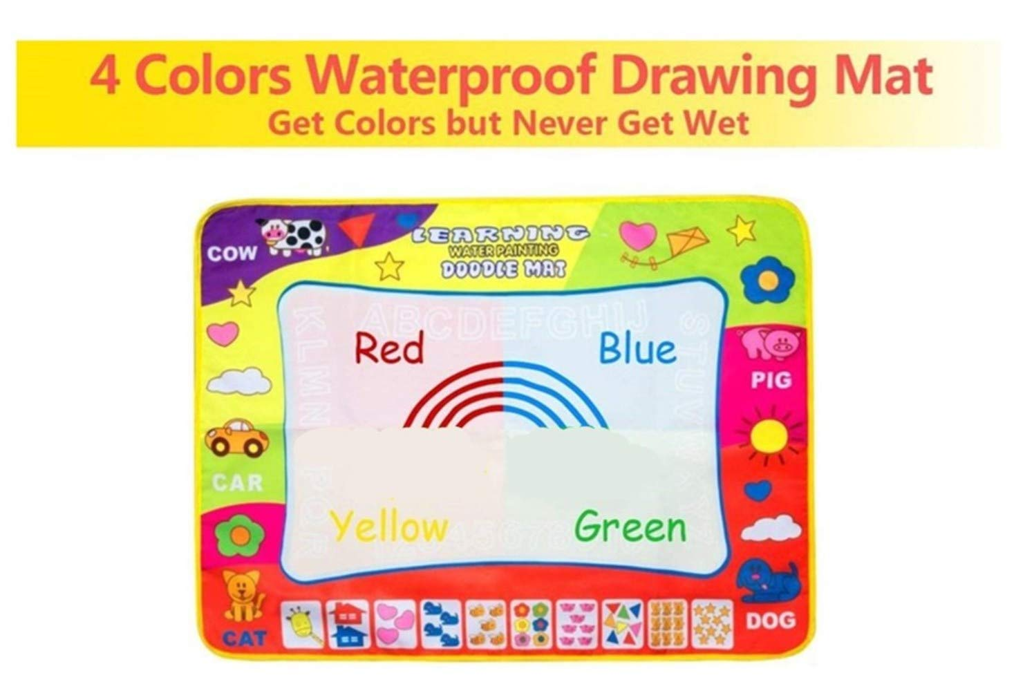 AGXuanYi Magic Water Drawing Mat 4 Color Large 31.5 x 23.6in Water Doodle Painting Board Writing Mats with 2 Pens 8 Molds Kids Educational Learning Toy Gift for Boys Girls Toddlers