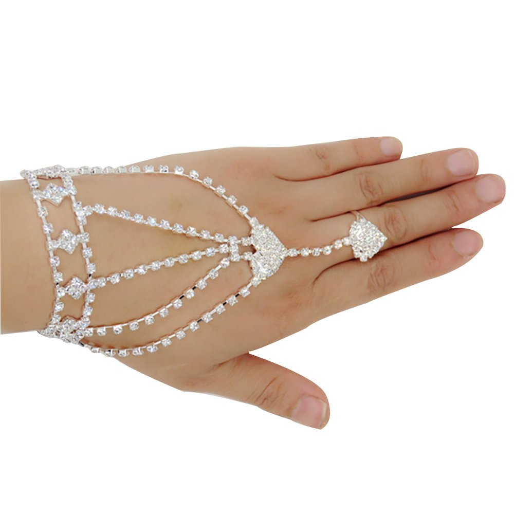 Women's Rhinestone Wristband Bracelet Pearl Finger Ring Bangle Slave Chain