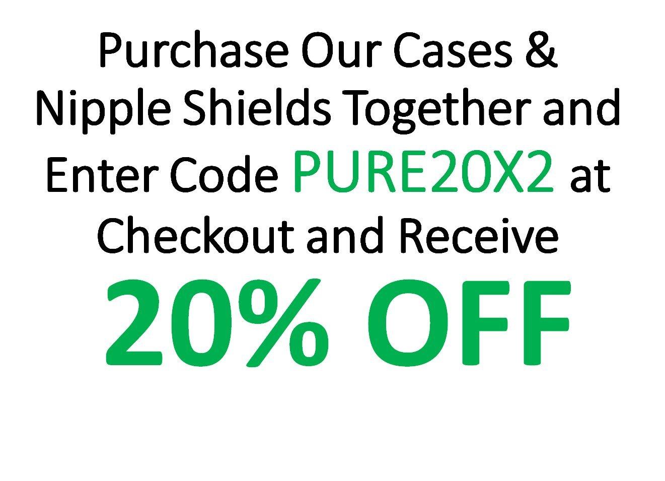 BPA and BPS Free Non-Toxic Set of 3 with Soft Cotton Reusable Drawstring Bag purifyou Premium Nipple Shield