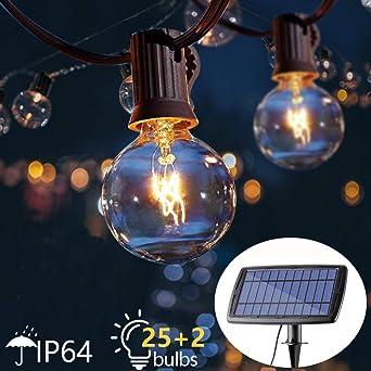 Guirnaldas Luces Exterior Solar Impermeable 7,62m con 25 G40 Globo Bombillas LED Guirnalda Luminosas 4 Modos Luces Decorativas Panel Solar Recargable para Jardines, Casas, Boda, Fiesta(Blanco Cálido): Amazon.es: Iluminación