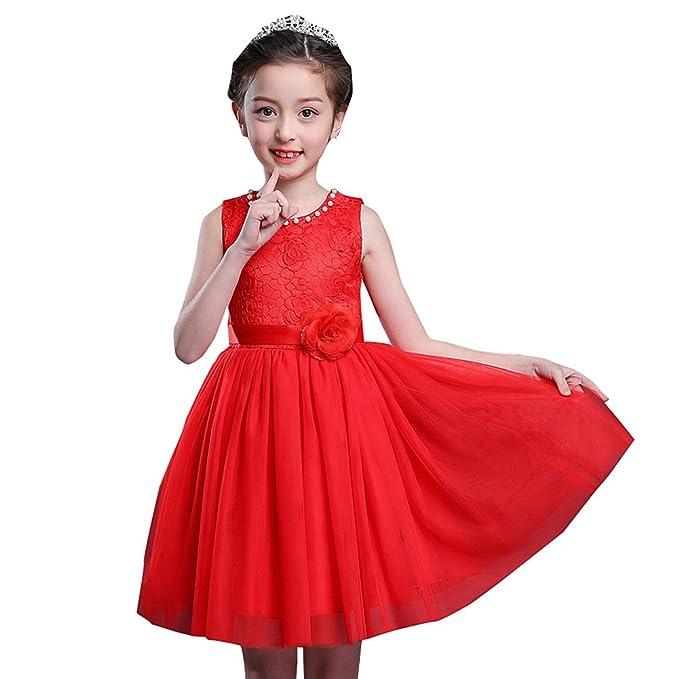 Girls Dress Mesh Pearls Children Wedding Party Dresses Kids