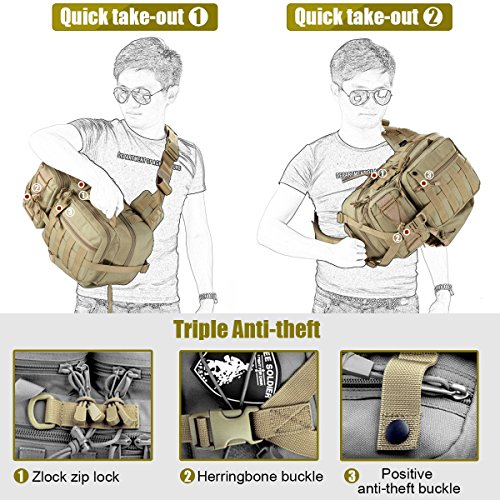 Mochila táctica de un solo hombro para senderismo, camping, viaje, mochila de tipo militar, Free Soldier Mud Color