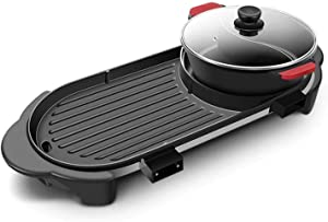 2200W Multifunction Electric grill , Electric Oven Kitchen appliances, Teppanyaki Dank smokeless Non-Stick Oil Electric Baking pan Multi-Function 110V - 240V (Design : Two-Flavor hot Pot)