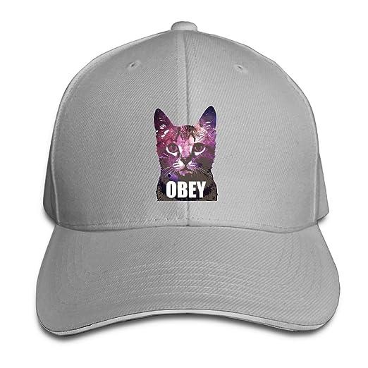 Fashion Unisex Obey Cat Art Baseball Hats 100% Cotton Adjustable Snapback  Curved Hip Hop Caps 1e4acafe63