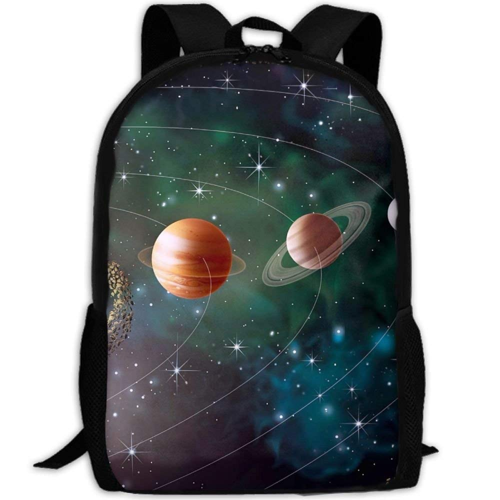 YIXKC Backpack Adult Solar System Planets Revolution Unique Outdoor Multipurpose Shoulders Bag Daypacks