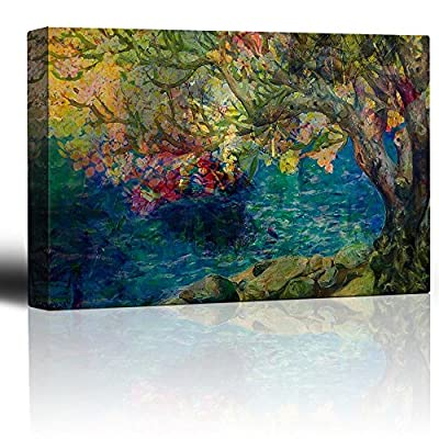 Lovely Style, Colorful Painting of a Tree by a Lake, Made With Top Quality