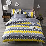 HUESLAND by Ahmedabad Cotton Comfort 144 TC Cotton Double Bedsheet with 2 Pillow Covers - Yellow and Grey