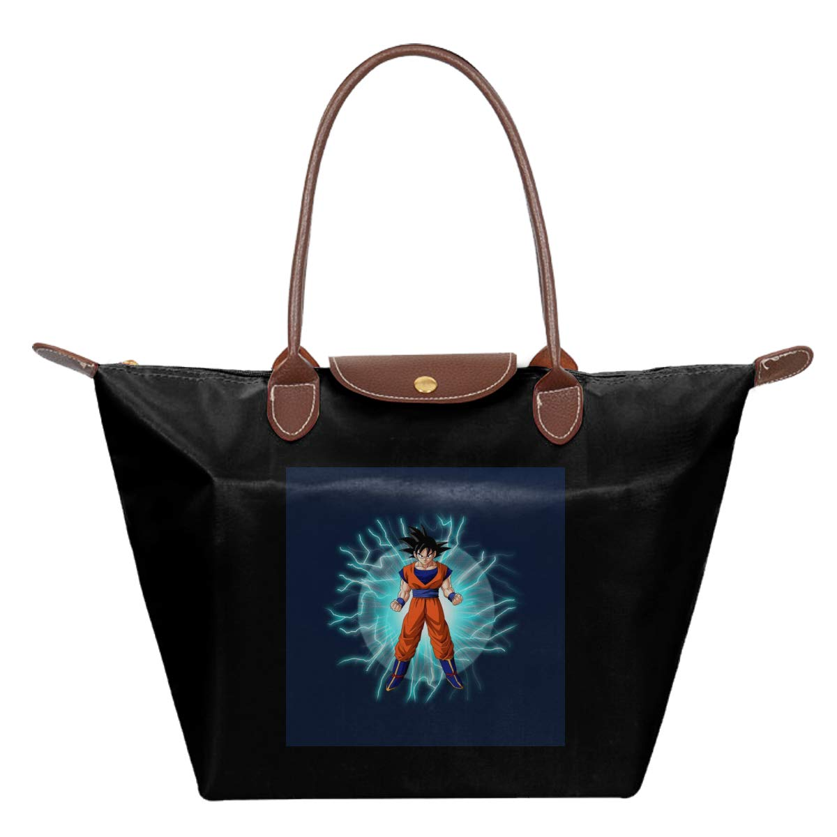Dragon Ball Z Goku With Lightning Waterproof Leather Folded Messenger Nylon Bag Travel Tote Hopping Folding School Handbags