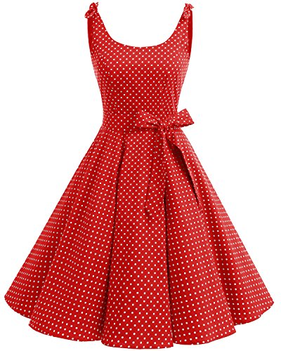 Bbonlinedress 1950's Bowknot Vintage Retro Polka Dot Rockabilly Swing Dress Red White Dot L (50's Polka Dot)