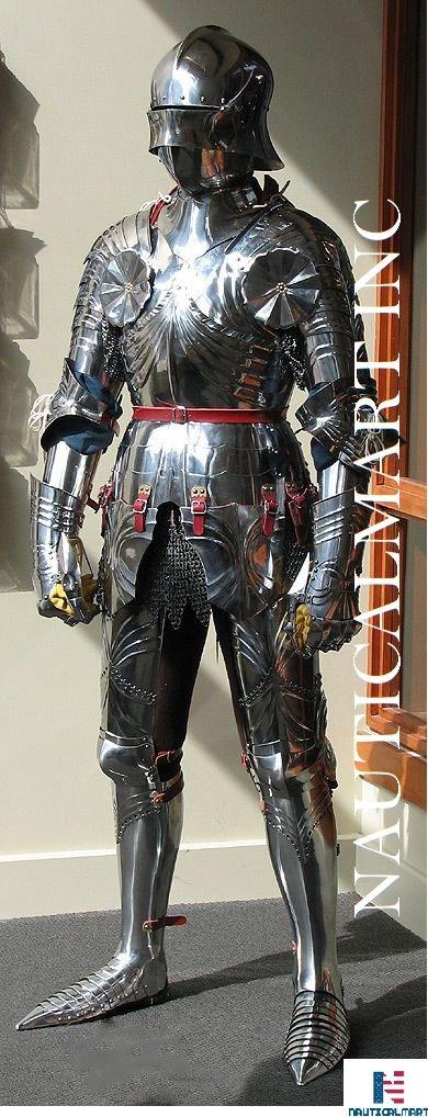 NAUTICALMART German Gothic Full Suit Of Armor ~15th Century Late Armor Costume