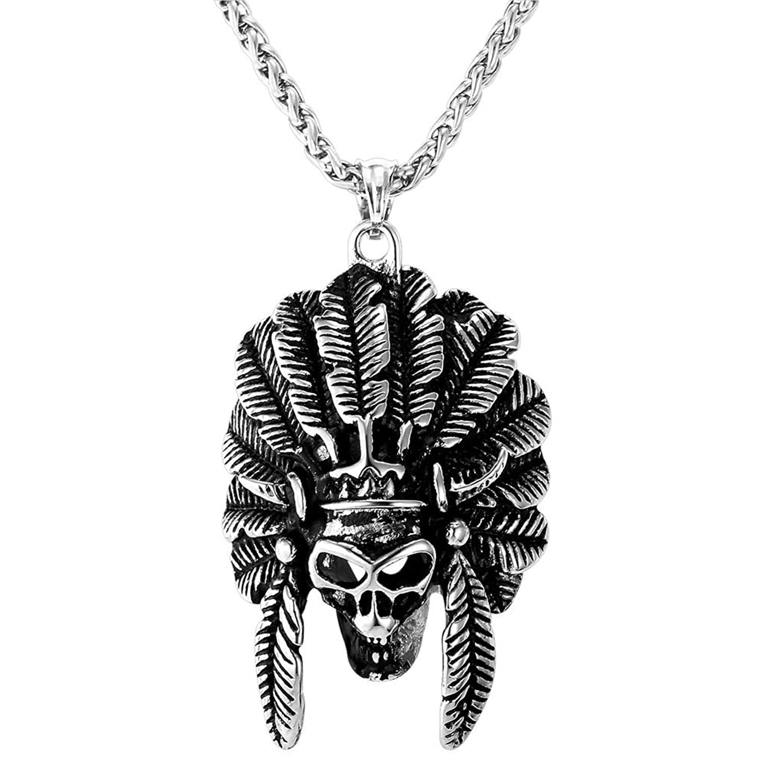 Native American Indian Style Tribal Chief Skull Pendant Necklace -Men's Cool 18K Gold Plated/Stainless Steel Punk Jewelry