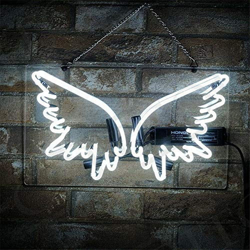 Neon Signs Sign Lights Light Wing Shap for Bed Room Bar Beer Home Bar Pub Club Restaurant Game Rooms Shop Real Glass Pure Hand Curved 14x8 - Wings Neon