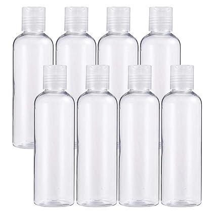 BENECREAT 8 Pack 200ml Botellas Transparente Contenedores Vacíos de Plástico Pet para Jabón de Manos Limpiador