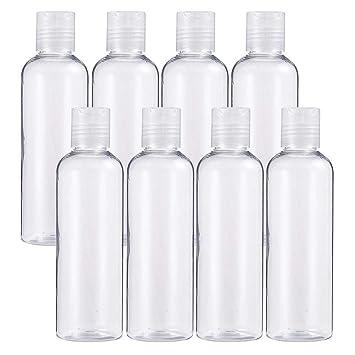 BENECREAT 8 Pack 200ml Botellas Transparente Contenedores Vacíos de Plástico Pet para Jabón de Manos Limpiador Facial, Botellas Recargables y Portátil: ...