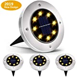 Biling Solar Ground Lights,Solar Disk Lights 8 LED Outdoor Waterproof Solar Garden Lights for Pathway Outdoor in-Ground Lawn Yard Deck Patio Walkway - Warm White (4 Pack)