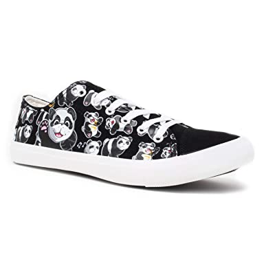 Panda Bear Sneakers | Cute Fun Gym Trainer Animal Canvas Tennis Shoe - Women Men | Fashion Sneakers
