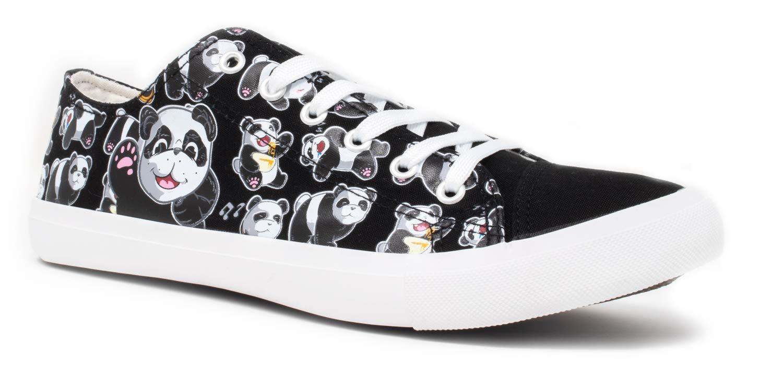 Panda Bear Sneakers   Cute Fun Gym Trainer Animal Canvas Tennis Shoe - Women Men - (Lowtop, US Men's 6, US Women's 8)