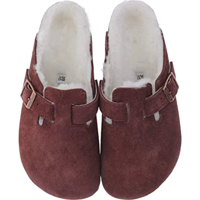 13068a3f90cd91 BIRKENSTOCK Boston Veloursleder Lammfell Damen Clogs Port 36 Normal