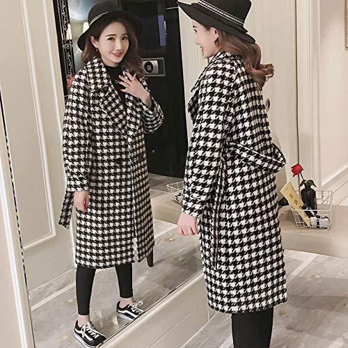 Bianco Inverno Femminile nero Giacca Top Cappotto Cappotto Autunno xl Lana E Lungo Azw In 8xwSTE7