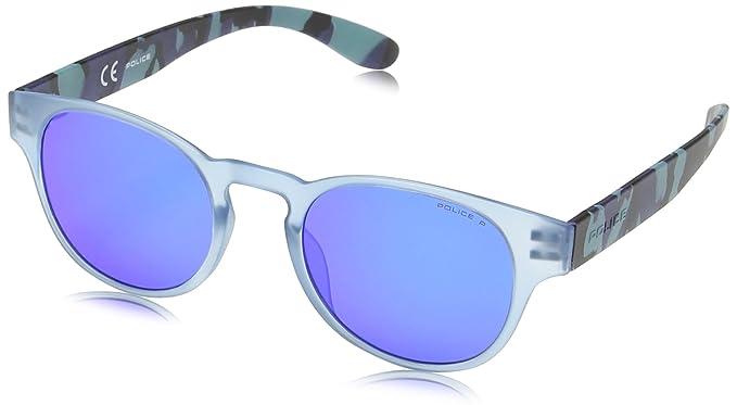 Police - Gafas de sol Redondas S1945 Exchange 2, SEMI MATT TRANSPARANT AZURE & PALE