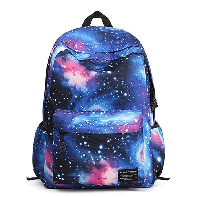 Minetom Universo Estrellas Nebulosa Nylon Backpack Mochilas Escolares Mochila Escolar Casual Bolsa Viaje Moda Azul One