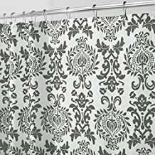 """mDesign Toile Fabric Shower Curtain - Stall, 54"""" x 78"""", Charcoal Gray"""