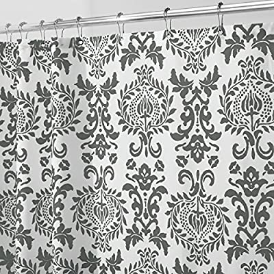 "mDesign STALL SIZED Decorative Damask Print - Easy Care Fabric Shower Curtain with Reinforced Buttonholes, for Bathroom Showers, Stalls and Bathtubs, Machine Washable - 54"" x 78"" - Charcoal Gray/White -  - shower-curtains, bathroom-linens, bathroom - 612DnrPHoWL. SS400  -"