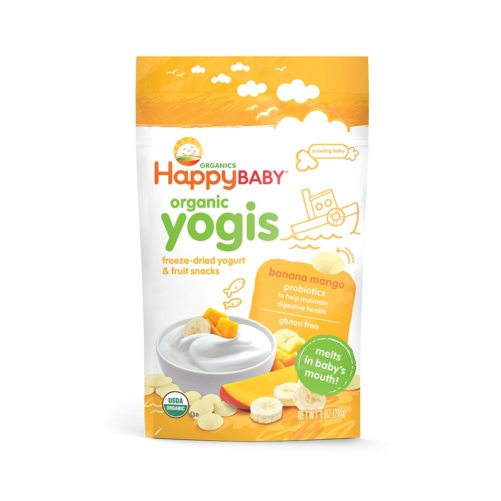 Happy Yogis Organic Yogurt and Fruit Snacks for Babies and Toddlers, Banana Mango, 1-Ounce Pouches (Pack of 8) HAPPYBABY 00149