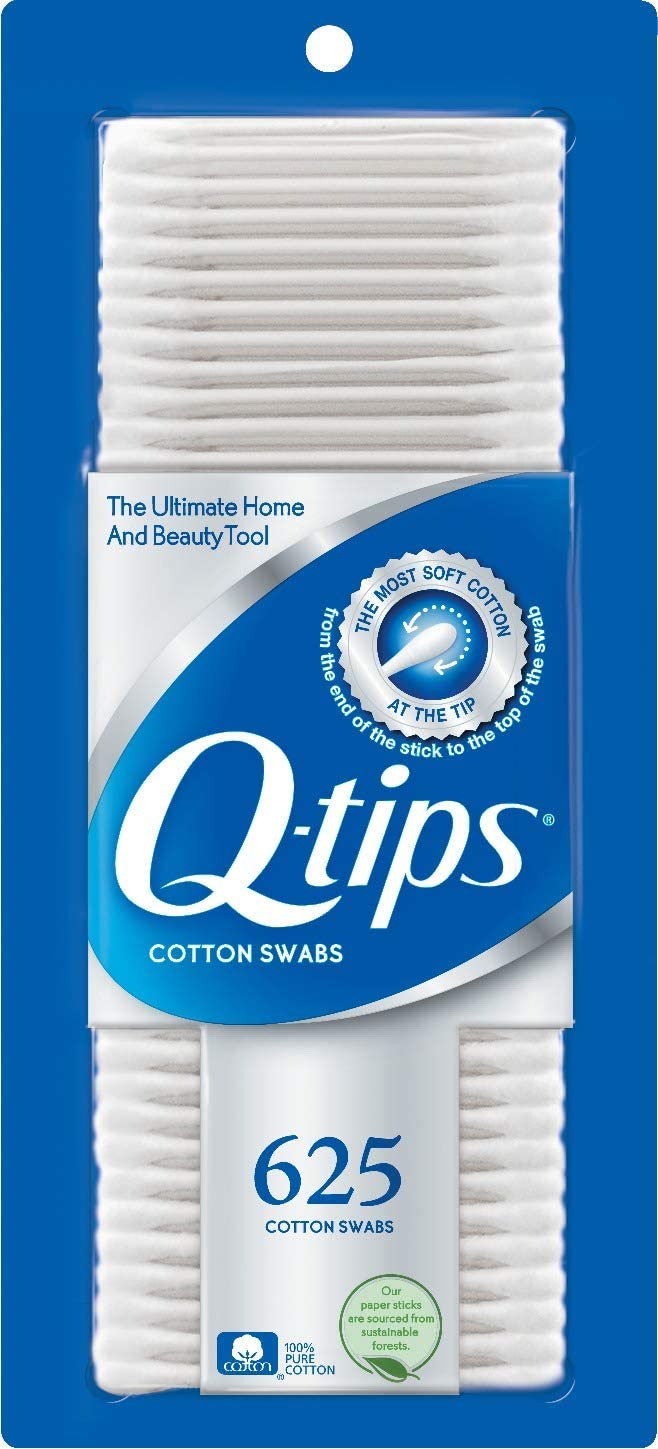 Q Tips Cotton Swab Size 625ct, Pack of 3