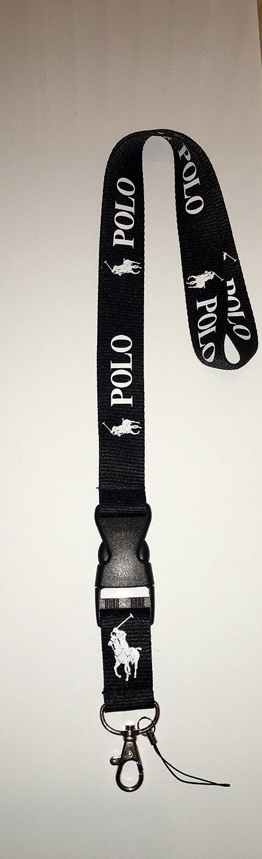 * ENTREGA GRATUITA * Producto nuevo negro Polo Ralph Lauren correa de cuello con cierre de seguridad para llaves, ID, Tarjeta Soporte, Teléfono, ...