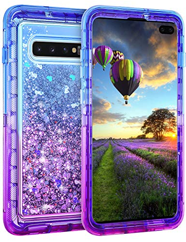 Coolden Case for Galaxy S10 Plus Cases Protective Glitter Case for Women Girls Cute Gradient Floating Liquid Quicksand Heavy Duty Cover Hard Shell Shockproof TPU Case for Galaxy S10 Plus, Blue Purple