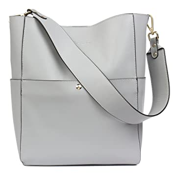 7e102e56603ca BOSTANTEN Leder Damen Handtasche Schultertasche Designer Umhängetasche  Tasche Groß Grau