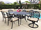 Everhome Designs – Elise Cast Aluminum Patio 7-Piece Dining Set with 42″ x 72″ Oval Table and SUNBRELLA Premium Cushions For Sale