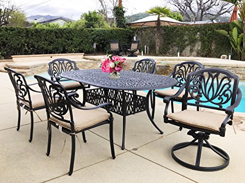 Cheap Everhome Designs – Elise Cast Aluminum Patio 7-Piece Dining Set with 42″ x 72″ Oval Table and SUNBRELLA Premium Cushions