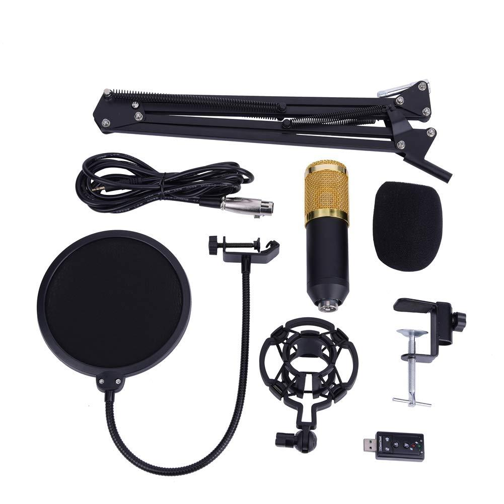 Condenser Microphone Kit,BM-800 Mic Set USB Streaming Podcast PC Studio with Adjustable Mic Suspension Scissor Arm Metal Shock Mount and 2Layer Pop Filter for Studio Recording Broadcasting Skype Black