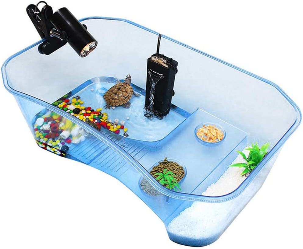 Reptile Habitat,Turtle Habitat Terrapin Lake Reptile Aquarium Tank with Platform Plants (Blue)