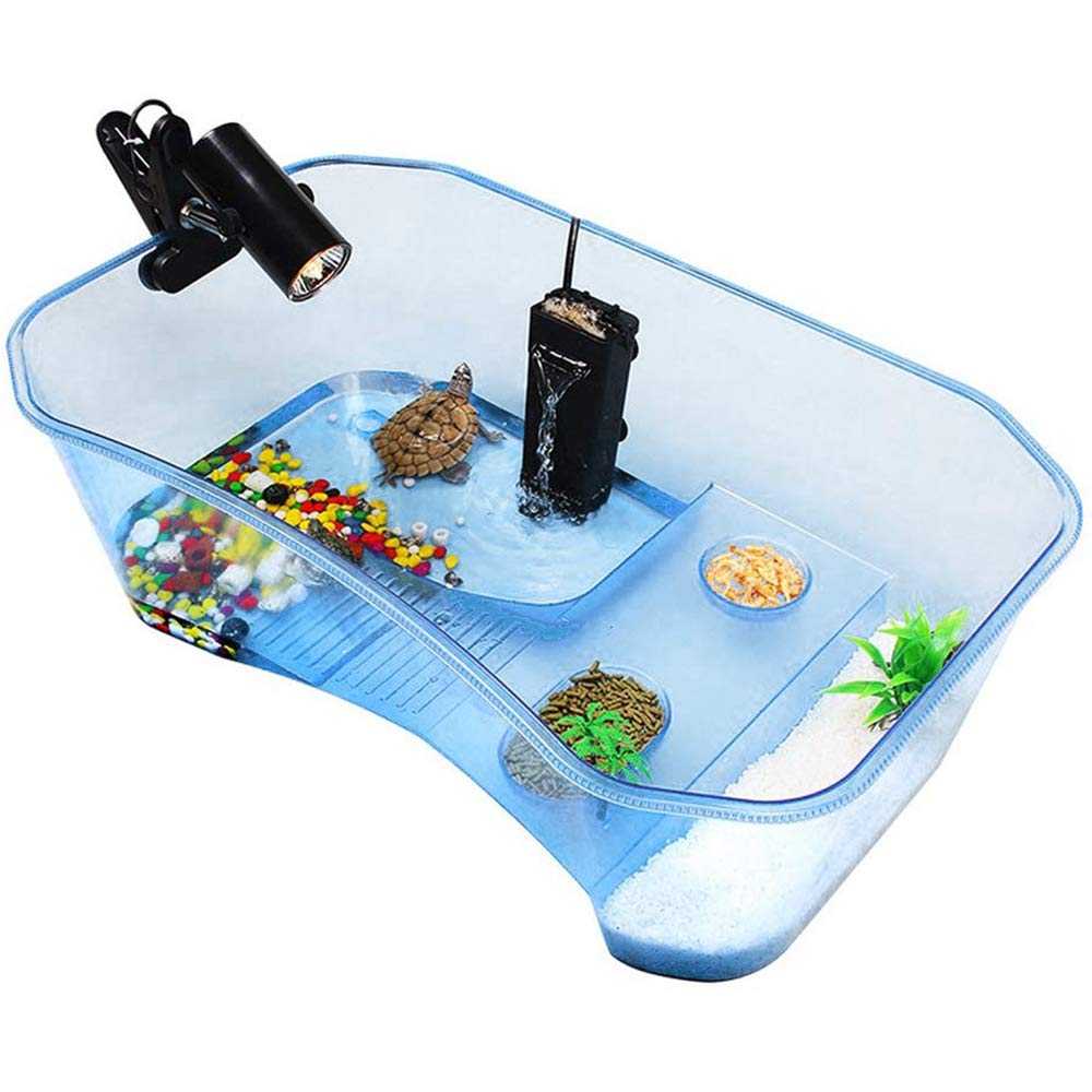 Reptile Habitat,Turtle Habitat Terrapin Lake Reptile Aquarium Tank with Platform Plants (Blue)(Excluding Accessories