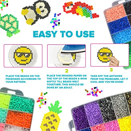 Little Visionary 30,000 Fuse Beads - Deluxe Hama Bead Kit Includes 10 Pegboards, Tweezers, Ironing Paper, Travel Case (30,000) by Little Visionary (Image #3)