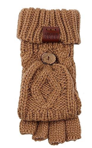 Aran Workshop Sand Beige Foldover Cable Knit Fingerless Mitts