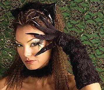 Cat Gloves Black Halloween Fancy Dress Accessory
