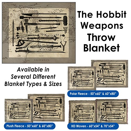 The Hobbit Weapons Throw Blanket / Tapestry Wall Hanging (HD Woven, 54