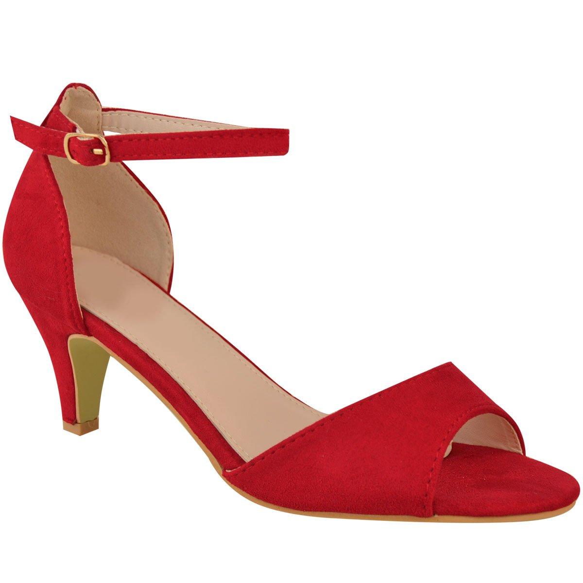 Fashion Thirsty Heelberry/® Womens Ladies Low Kitten Heel Wedge Court Shoes Black Work Sandals Strappy Size